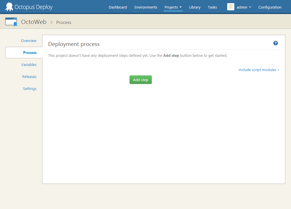 Deployment Process tab