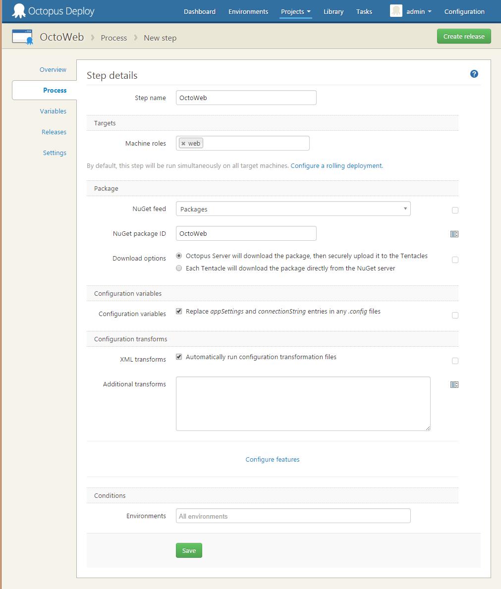 NuGet Package step completed