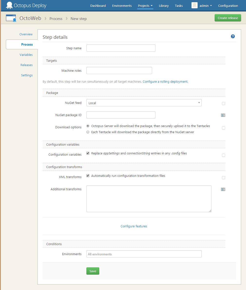 NuGet Package step setup