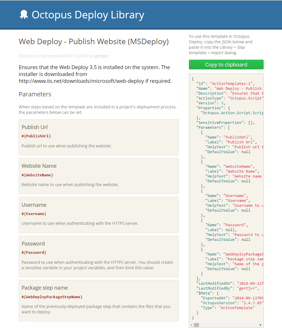 Web Deploy Step Template details