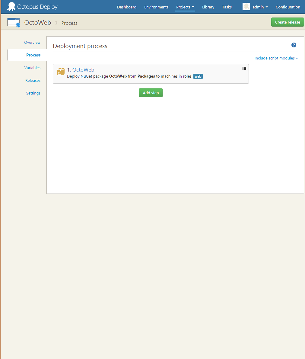 Project deployment process with 1 step