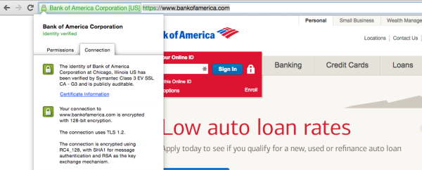 Bank of America certificate