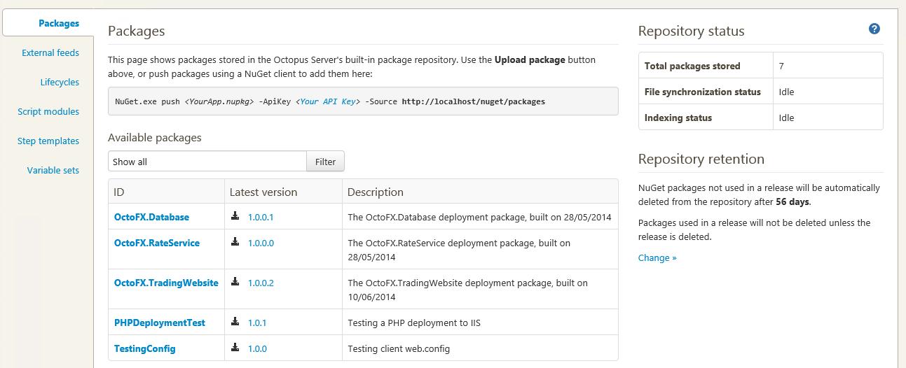 repository retention settings