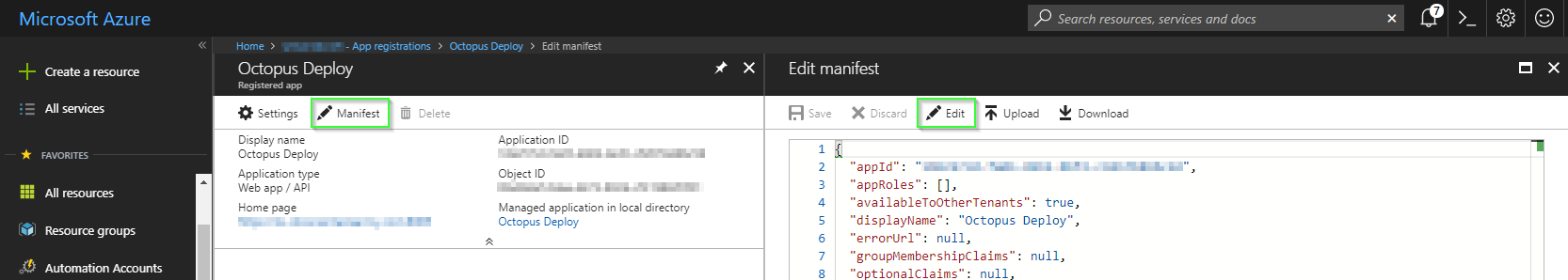 Editing an App registration manifest