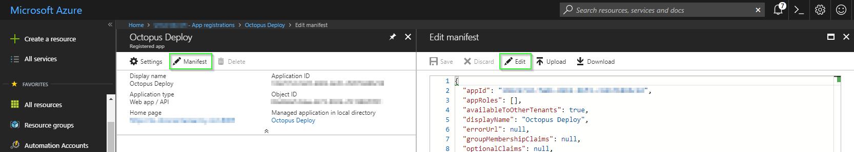 Editing an App registration manifest