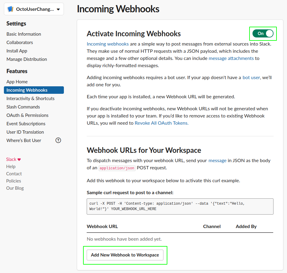 Add New Webhook to Workspace
