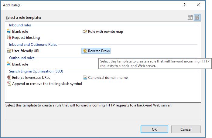 Adding a Reverse Proxy Rule in URL Rewrite