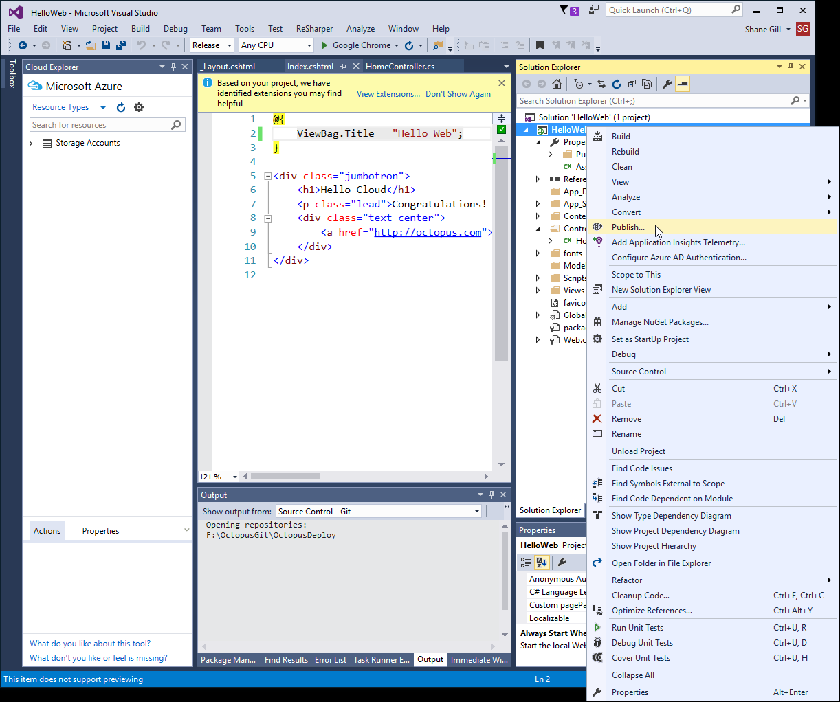 Publish an Azure Web Application