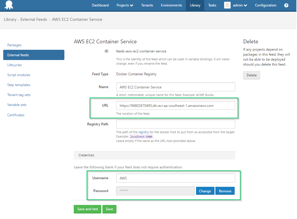 AWS EC2 Container Service Registry Feed