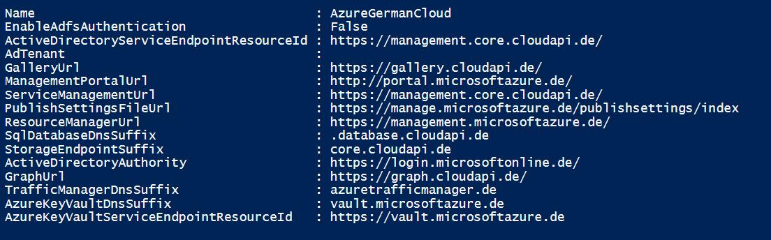 Azure Germany cloud details