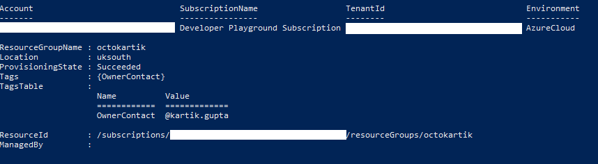 Screenshot of Azure Resource Groups