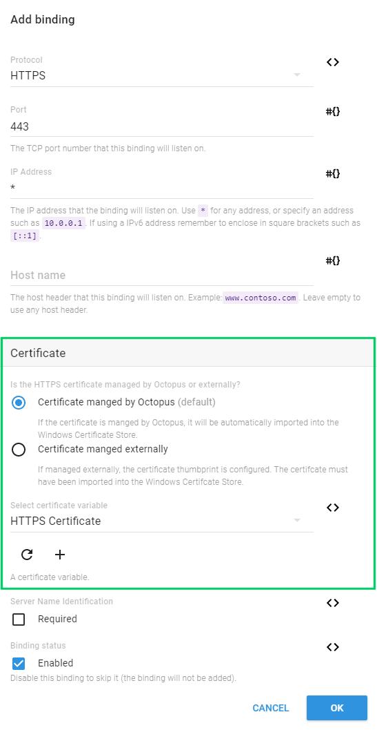 Certificates Octopus Deploy