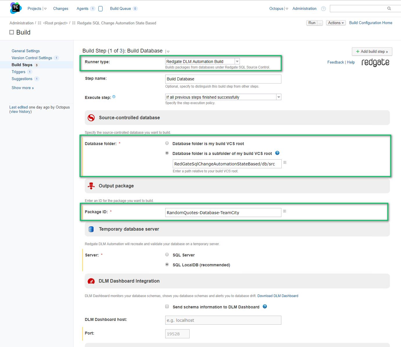 TeamCity build database package step