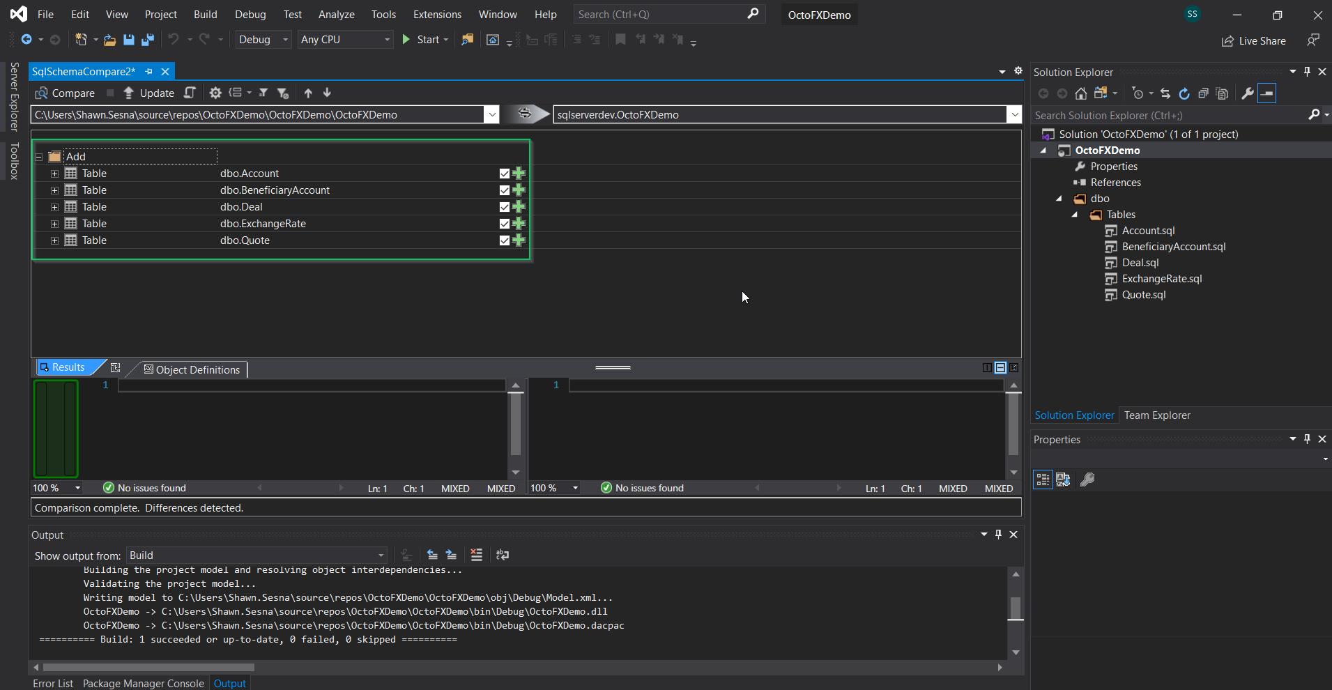 The results of the Schema Compare in Visual Studio