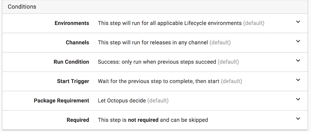 Conditions | Octopus Deploy