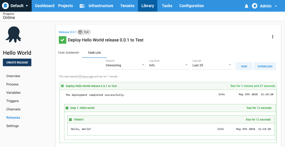Hello world task summary