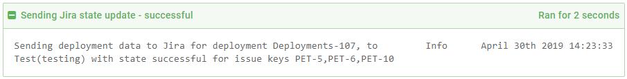 Deployment task log