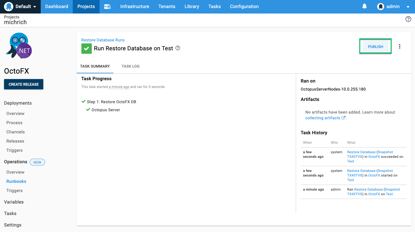 Publish runbook from task page