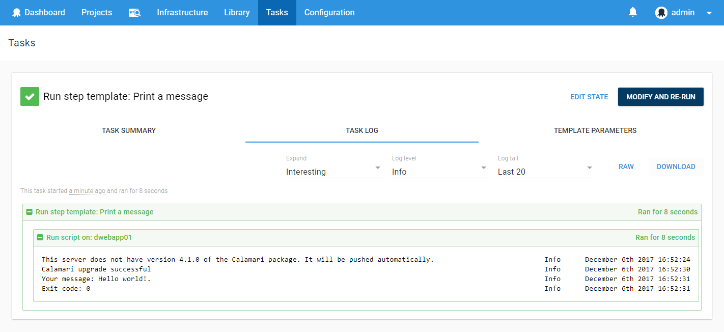 Task log