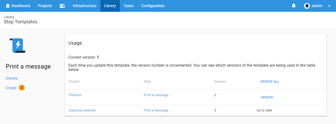 Step templates usage