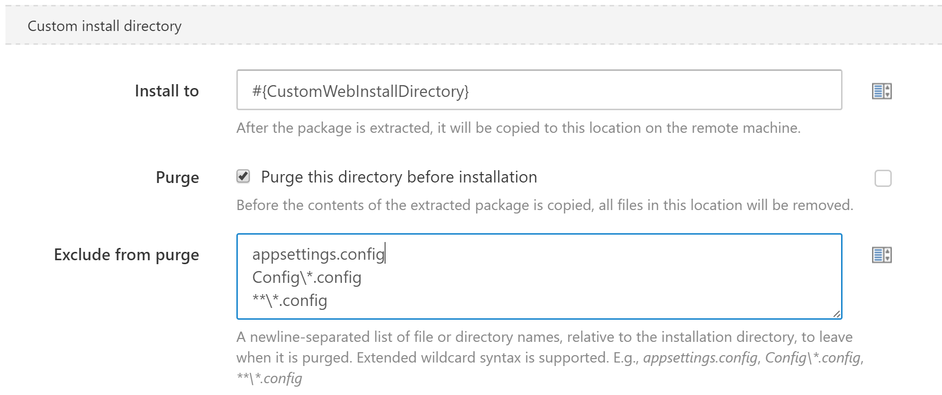 exclude files and folders during purge