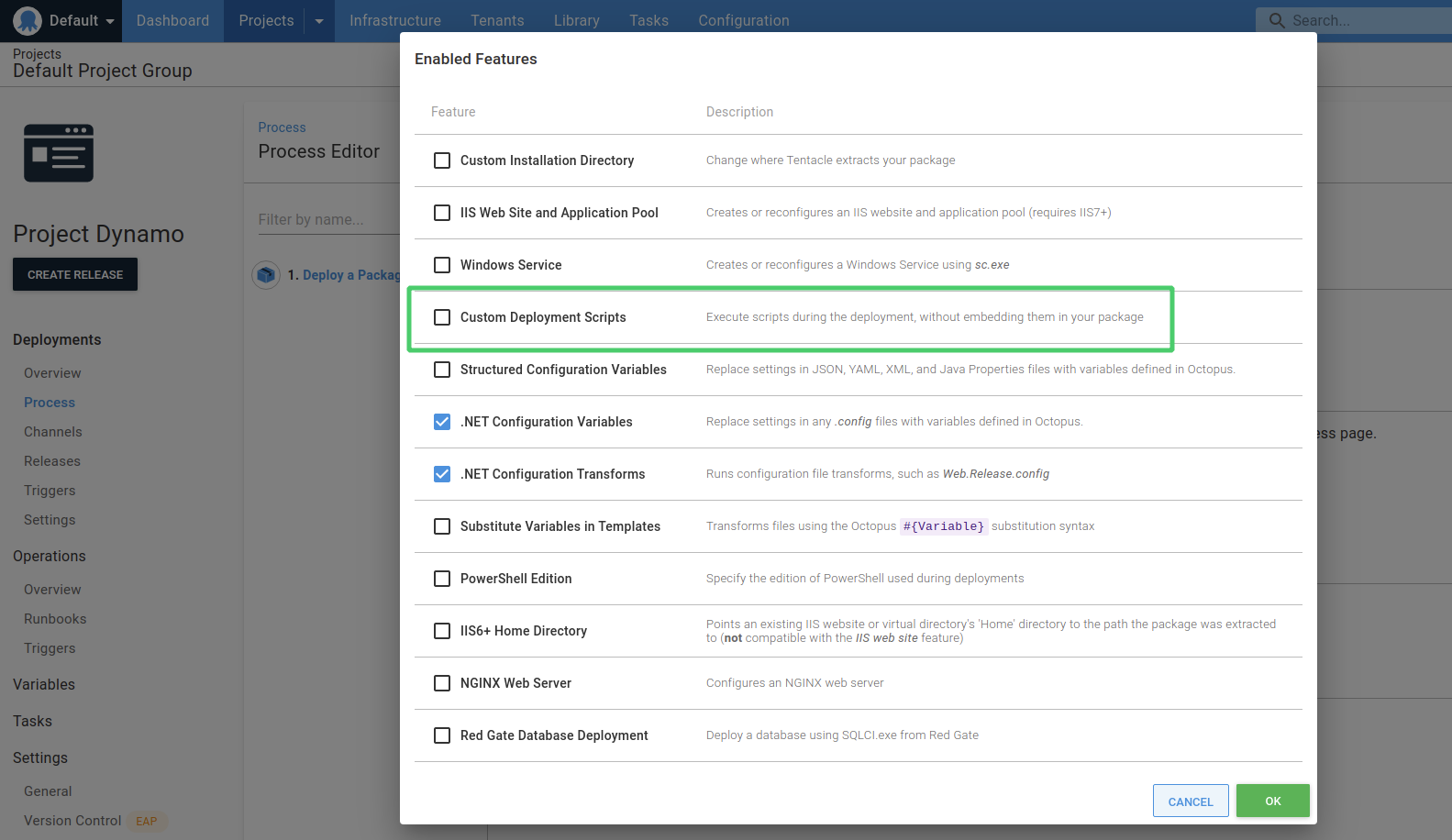 Custom Deployment scripts features screenshot