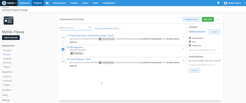 The complete deployment process in Octopus Deploy