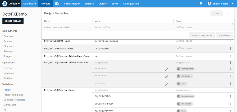 The project variables in the Octopus Web Portal