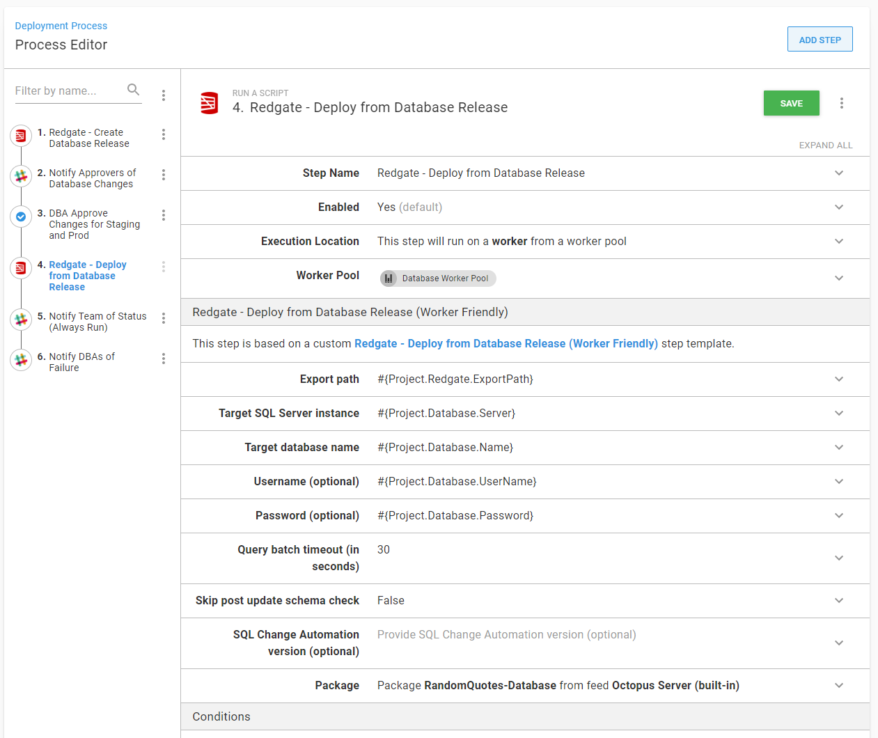 Deploy from database release step
