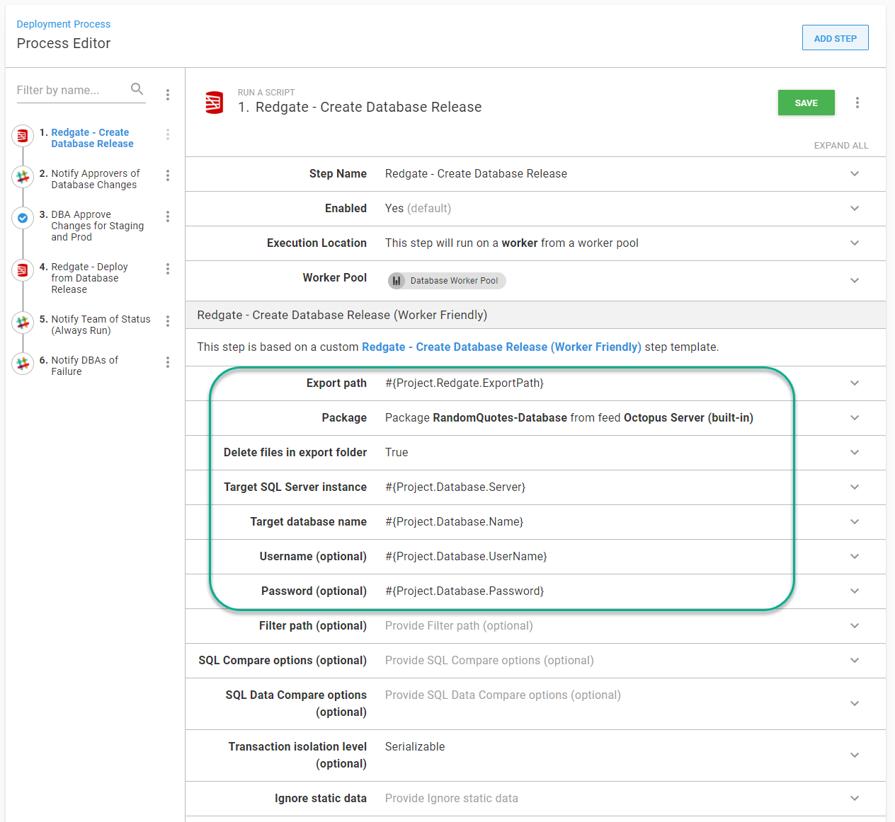 Create Database Release screen