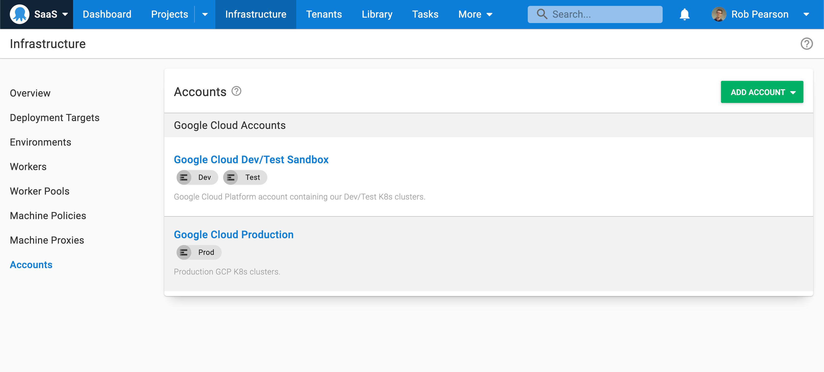 Google Cloud Platform accounts in Octopus
