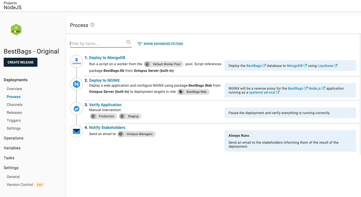 Original deployment process for Node.js application