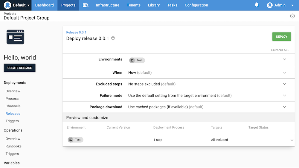 Deploy release screen in the Octopus Web Portal