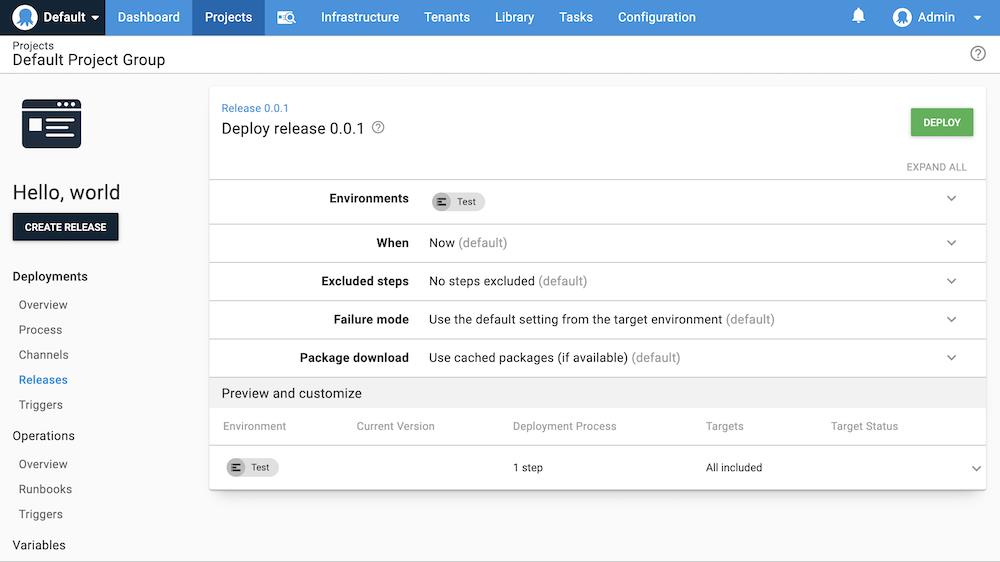 Deploy release screen in the Octopus Web Portal