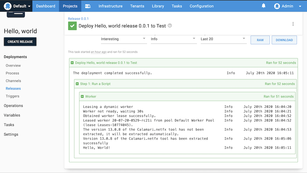 The results of the Hello world deployment