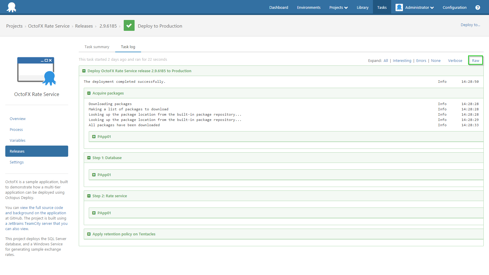 how to turn on variable logging and export the task log octopus deploy