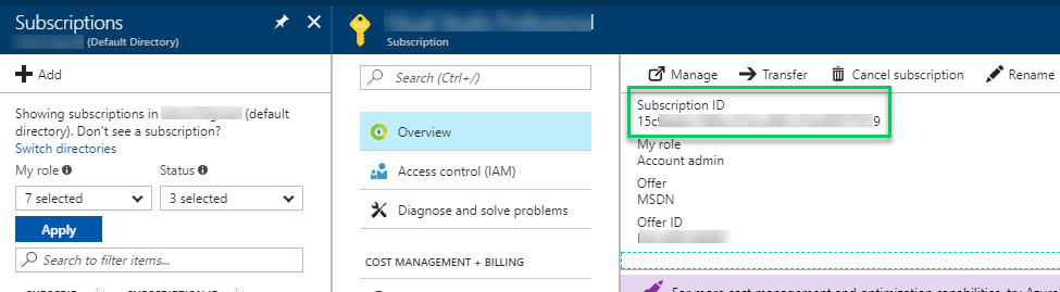 Azure subscription Id