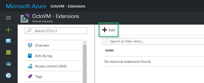Azure VM Properties - Add extensions button