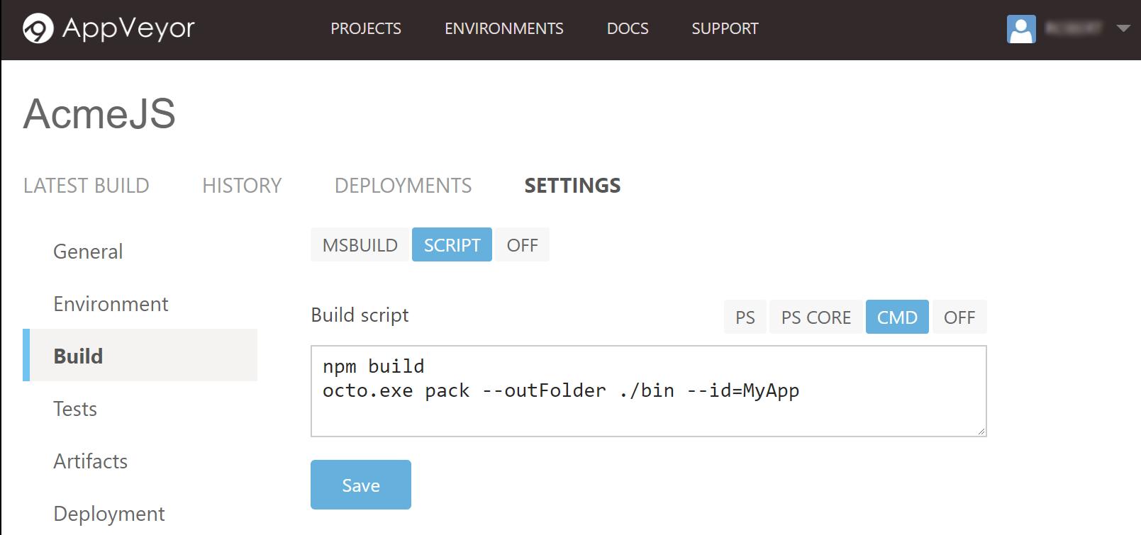 AppVeyor Npm Build