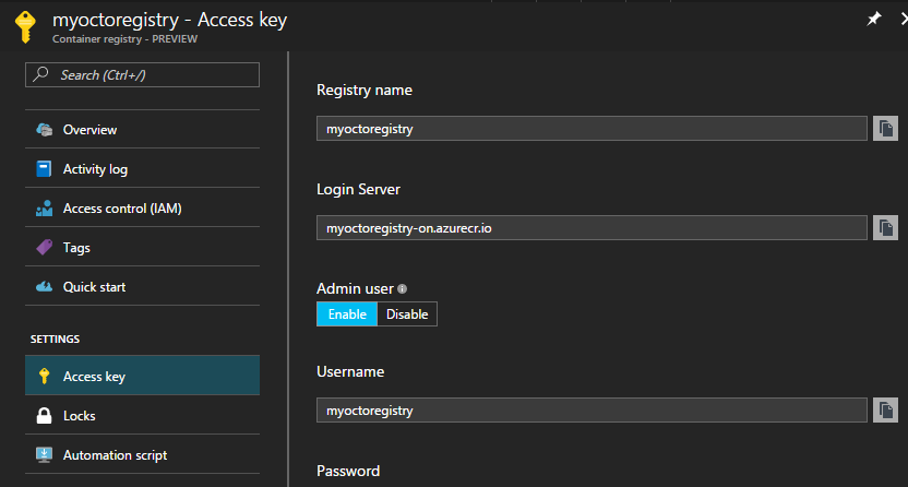 Azure Container Services Access Key blade
