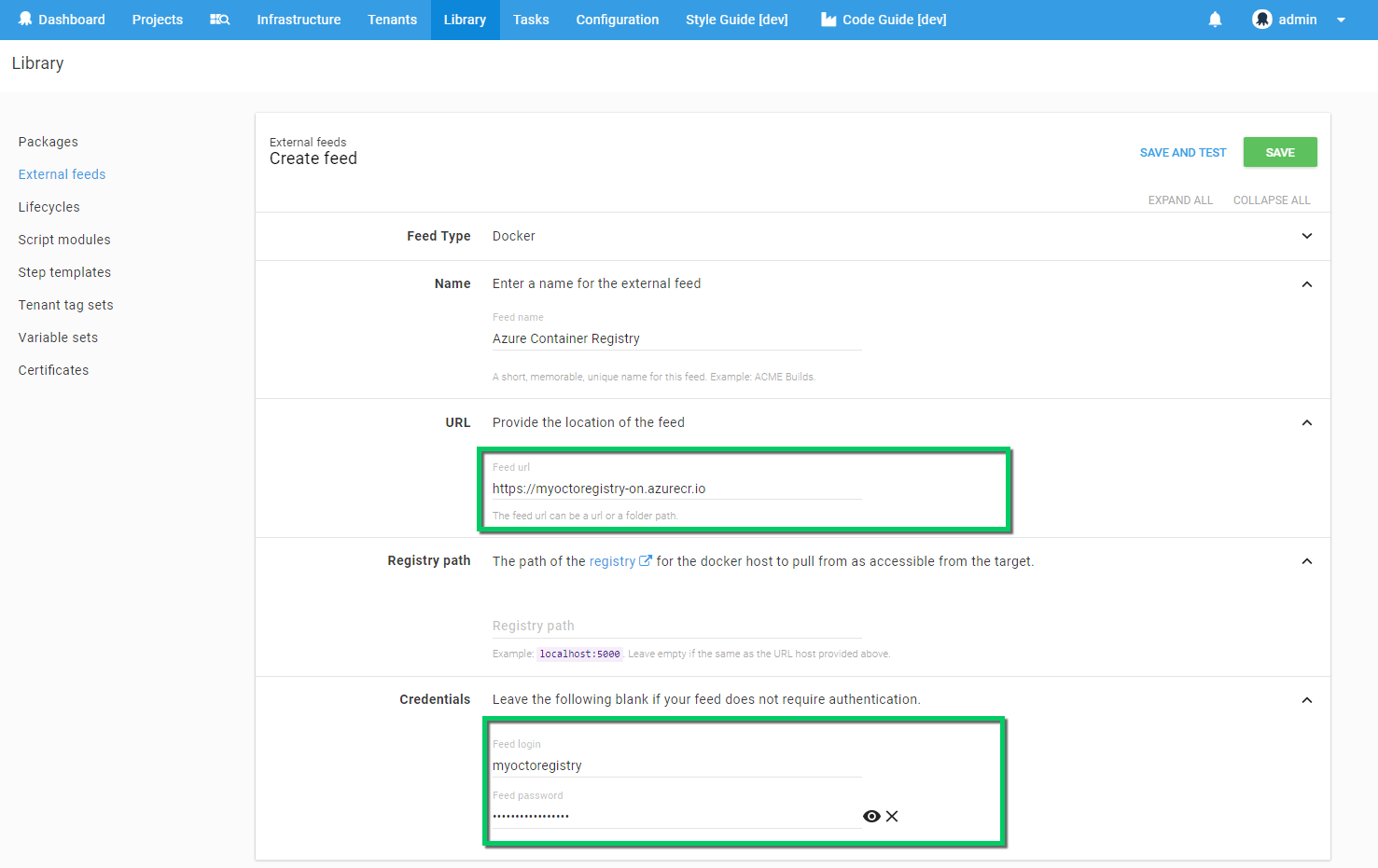 Azure Container Services Registry Feed