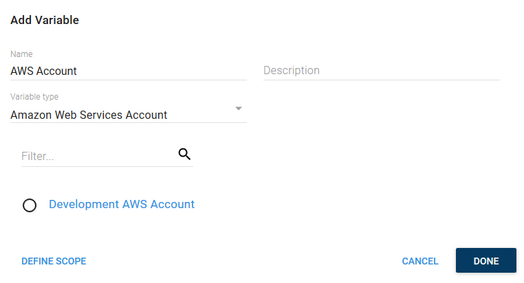 AWS account variable selection