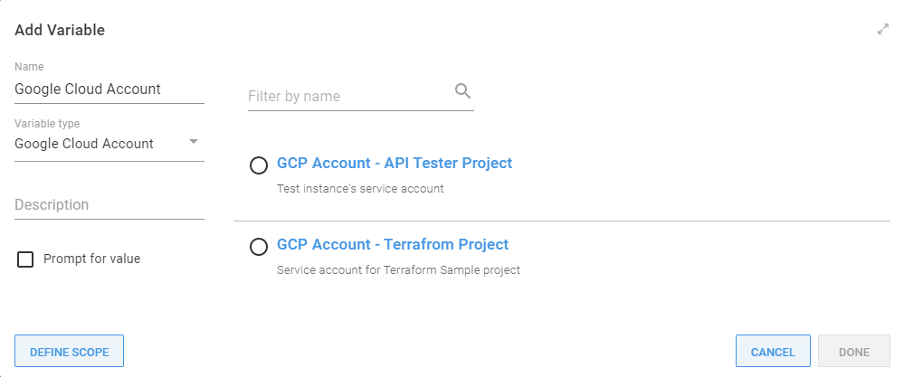 Google Cloud account variable selection