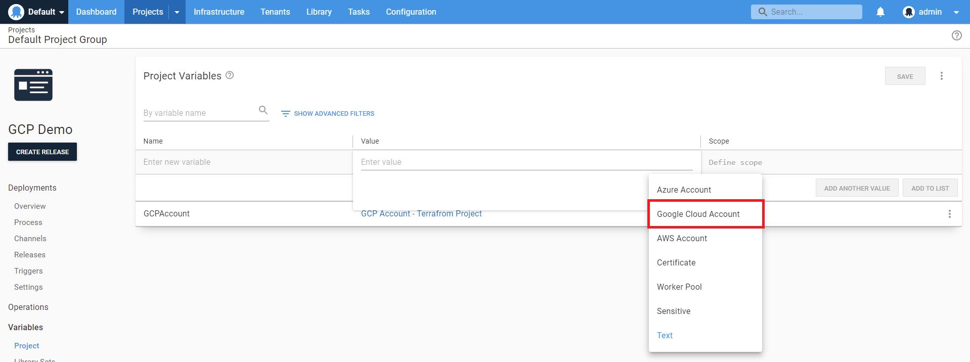 Google cloud account variable