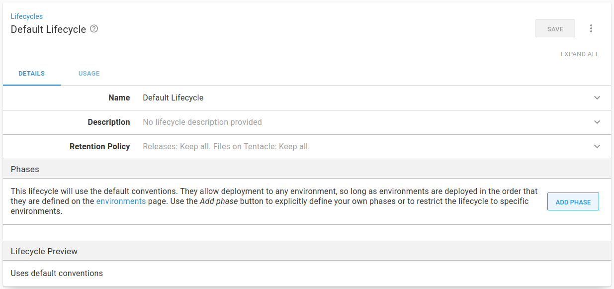 Default Lifecycle Library view