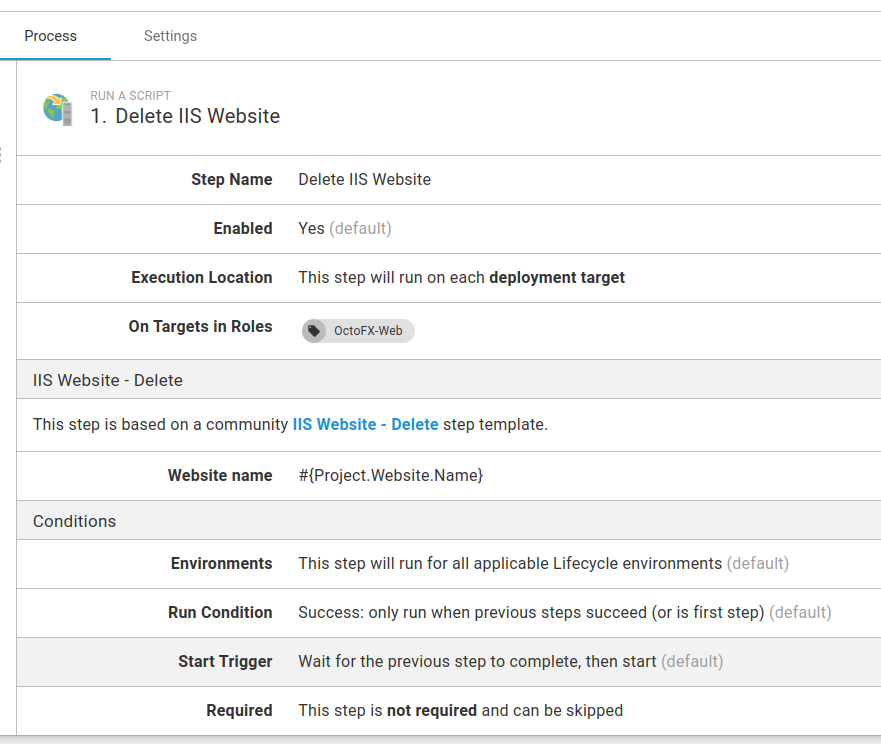 Runbook IIS maintenance Delete Website