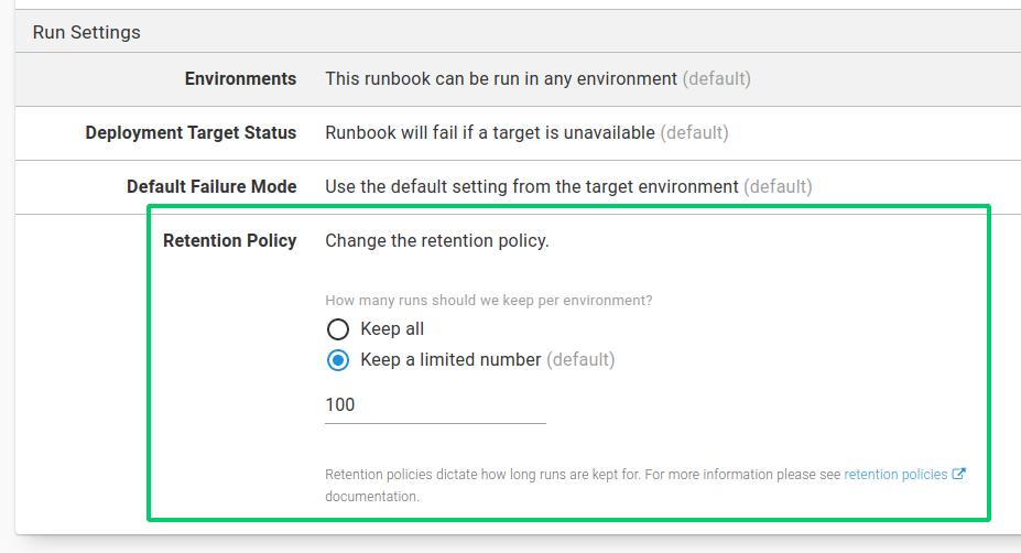 Runbook retention policies