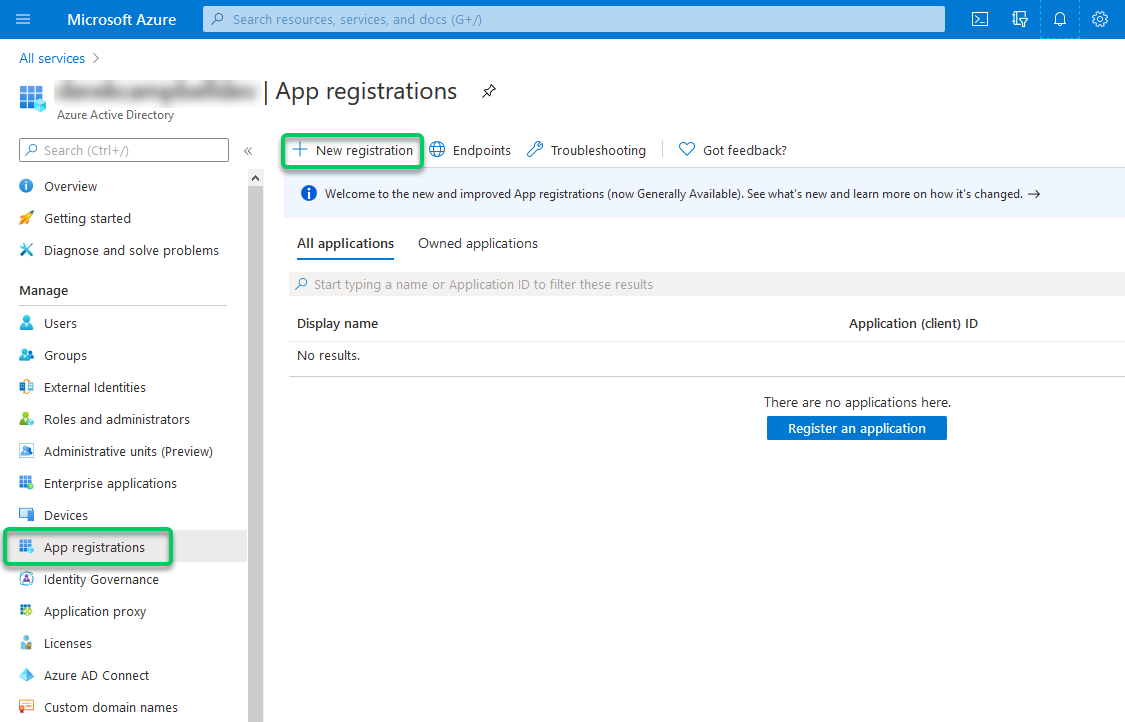 New App registration