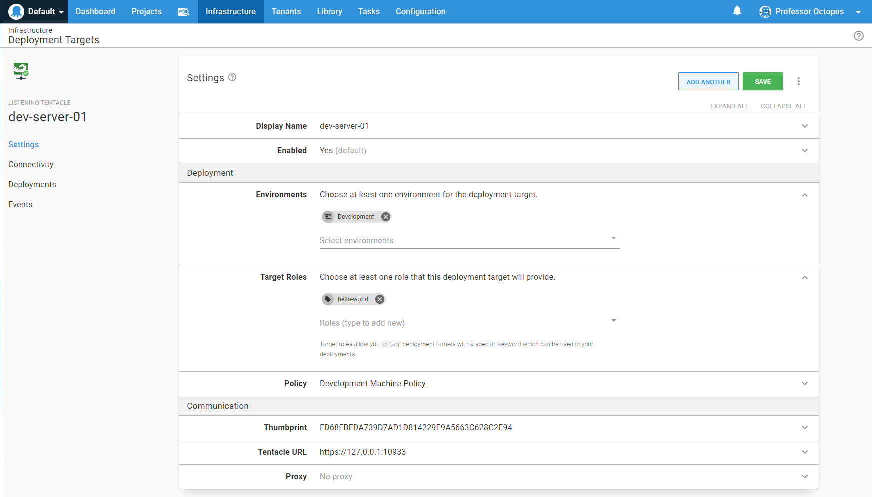 Deployment target with roles